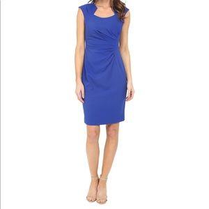Calvin Klein Cobalt Blue Cap Sleeve Ruched Sheath Dress size 6 -horseshoe collar